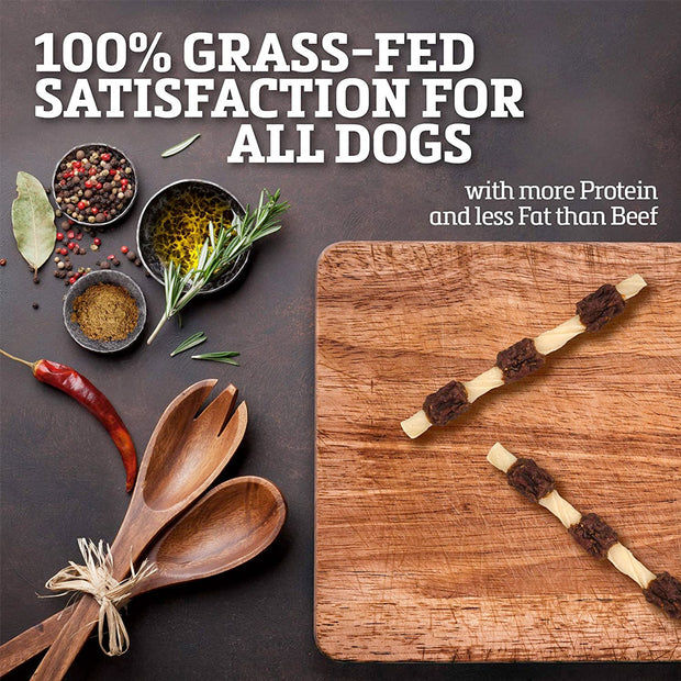 Buffalo Range Natural, Grain Free Jerky Kabob Rawhide Chews for Dogs