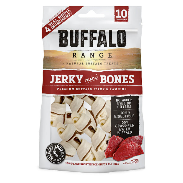Buffalo Range Natural, Grain Free Jerky Mini Bone Rawhide Chews for Dogs 10pc