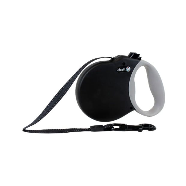 Alcott Reflective Retractable Leash Black - Collars &