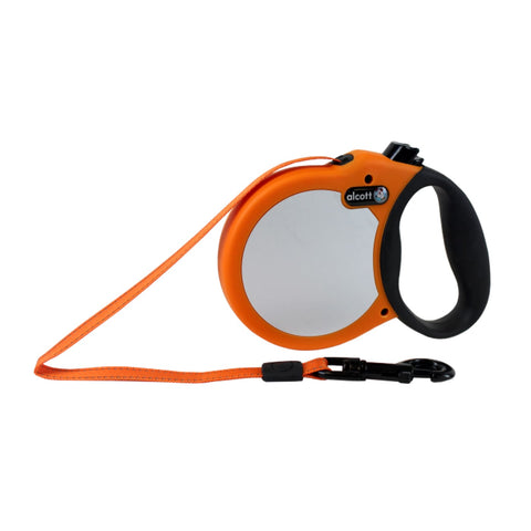 Alcott Reflective Retractable Leash Neon Orange - Collars &
