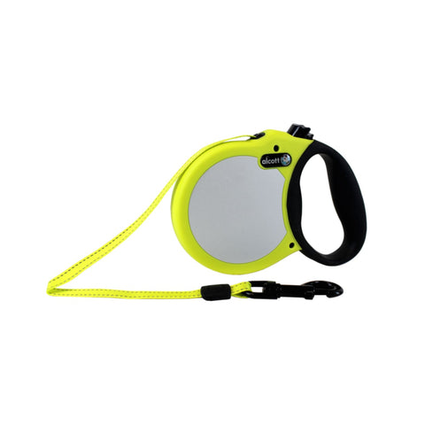 Alcott Reflective Retractable Leash Neon Yellow - Small -