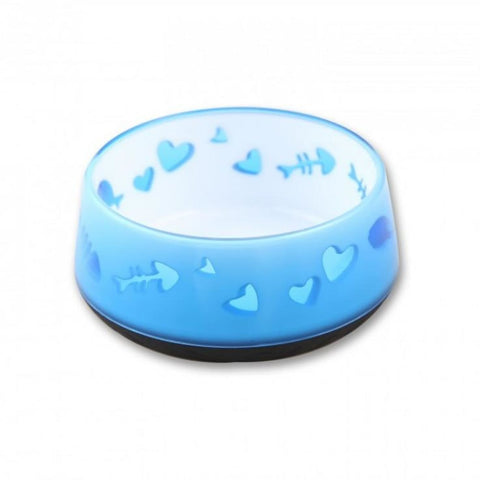 All For Paws Cat Love Bowl - Blue - Cat Feeders & Bowls