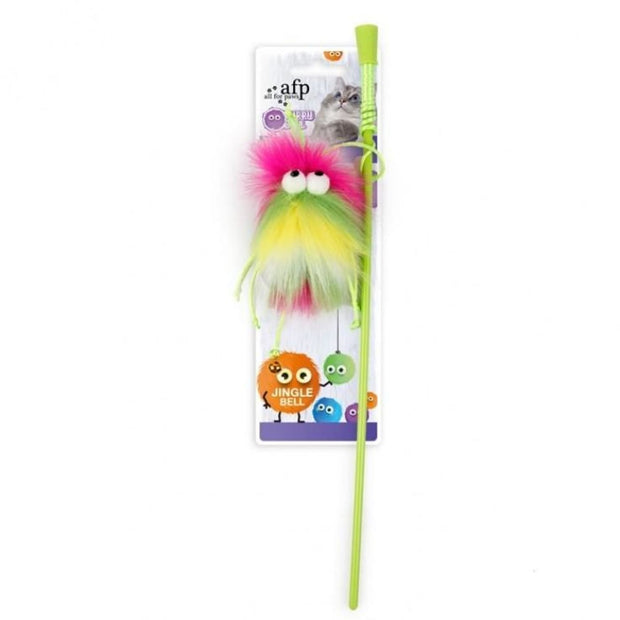 All For Paws Fluff-Ball Wand - Green - Cat Toys