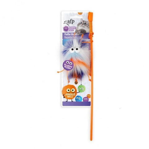 All For Paws Fluff-Ball Wand - Orange - Cat Toys