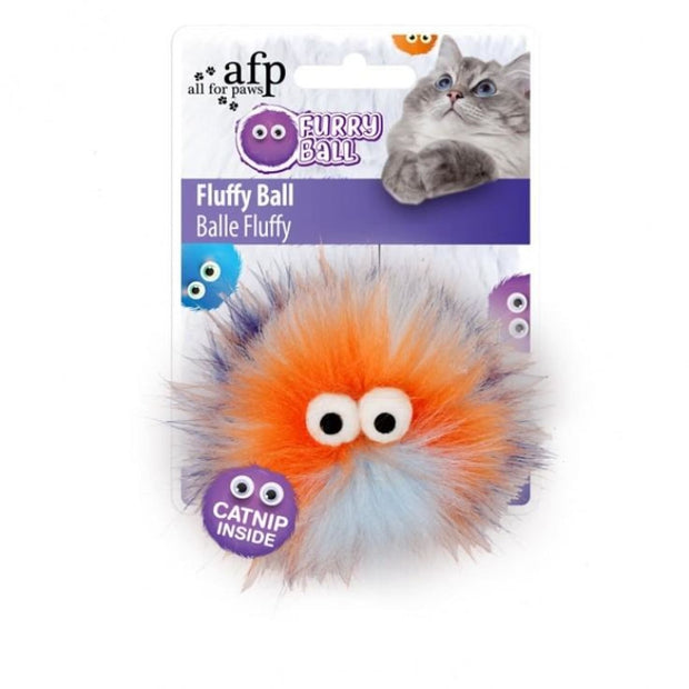 All For Paws Fluffy Ball Orange - Cat Toys