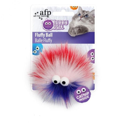 All For Paws Fluffy Ball Red - Cat Toys