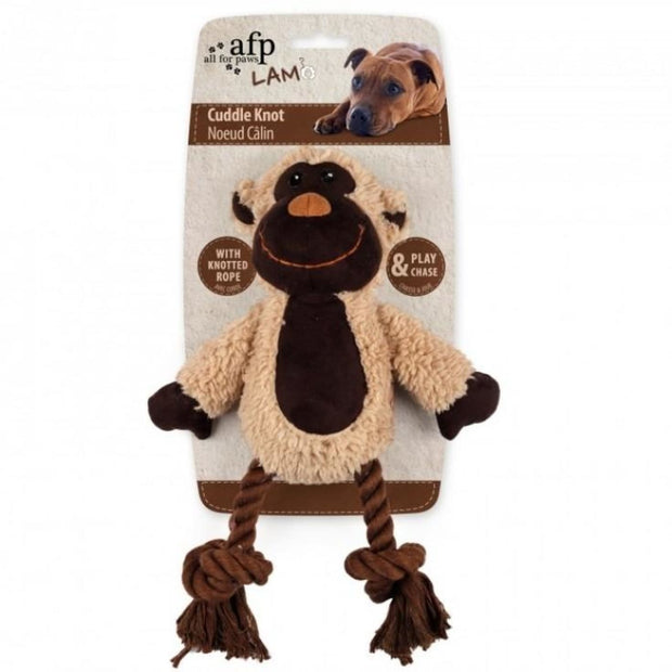 All For Paws Lambswool Cuddle Knot Monkey - Dog Toys
