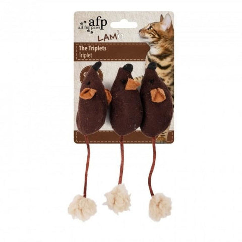 All For Paws Mouse Triplets - Brown - Cat Toys