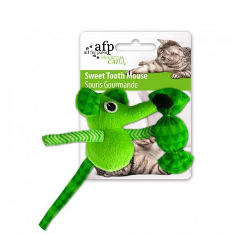 All For Paws Sweet Tooth Mouse - Green - Cat Toys