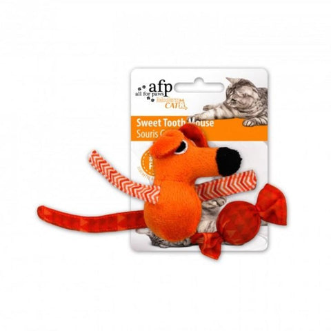 All For Paws Sweet Tooth Mouse - Orange - Cat Toys