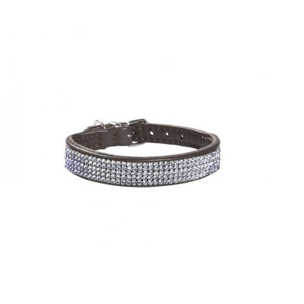 Bobby Crystal Dog Collar - Brown - Collars & Fashion
