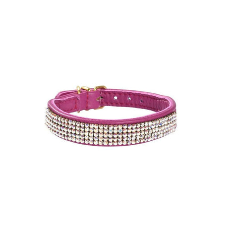 Bobby Crystal Dog Collar - Pink - Collars & Fashion