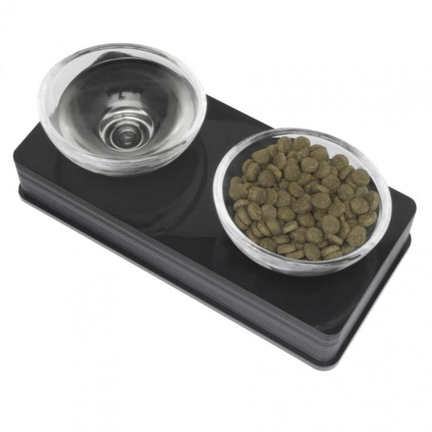 Catit Elevated Glass Diner - Black - Cat Feeders & Bowls