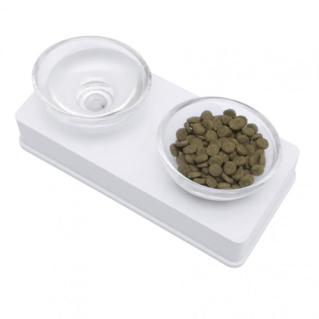Catit Elevated Glass Diner - White - Cat Feeders & Bowls