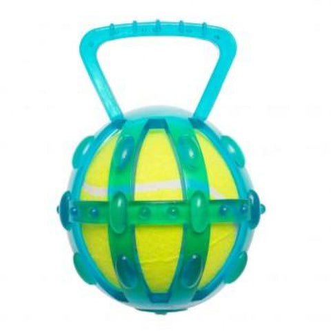 Chomper TPR Cage with 5 Inches Tennis Ball - Dog Toys