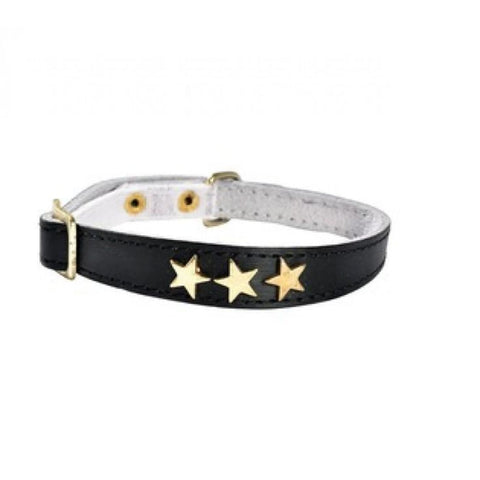 Etoiles Leather Cat Collar - Black - Cat Collars & Tags