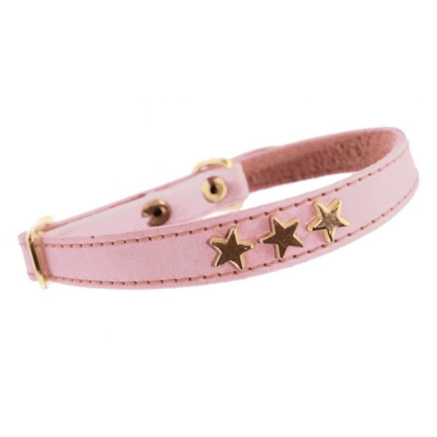 Etoiles Leather Cat Collar - Pink - Cat Collars & Tags