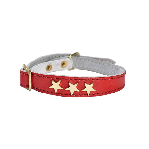 Etoiles Leather Cat Collar - Red - Cat Collars & Tags