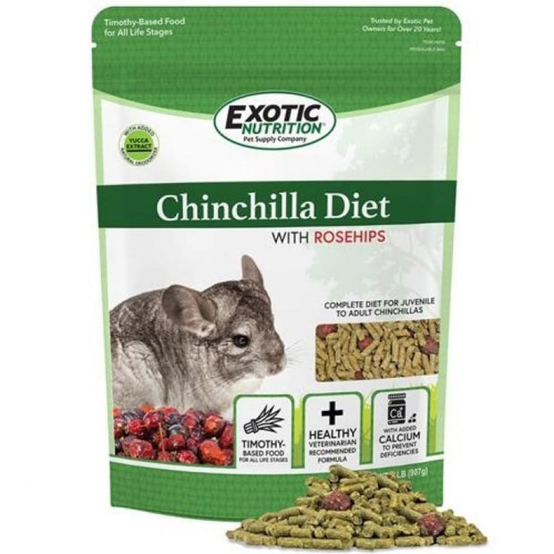 Exotic Nutrition Chinchilla Diet with Rose Hips 2lb - Small