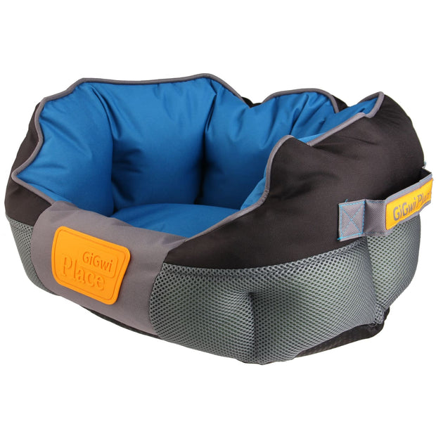 GiGwi Place Soft Canvas Bed - Blue & Grey - Dog Beds