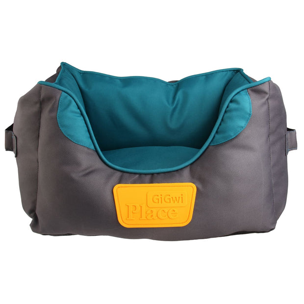 GiGwi Place Soft Canvas Bed - Teal & Grey - Dog Beds