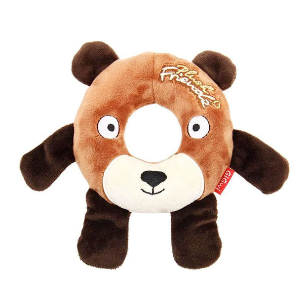 GiGwi Plush Friendz Bear with Foam Rubber Ring and Squeaker