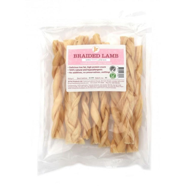JR Pet Braided Lamb 100g - Dog Treats