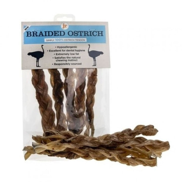 JR Pet Braided Ostrich Tendons - 5 pack - Dog Treats