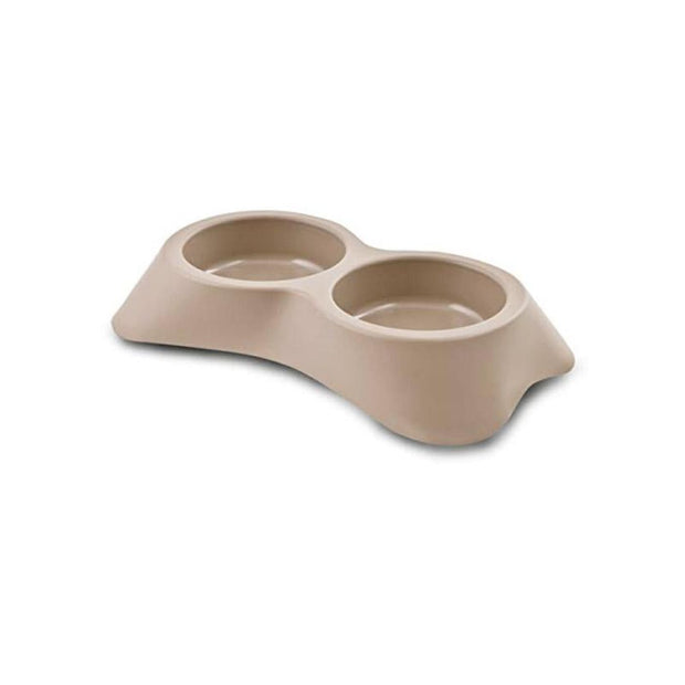 MP Bergamo Double Dish - Brown - Dog Bowls & Feeders