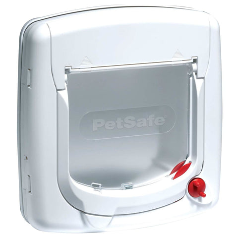 Pet Safe 4 Way Locking Deluxe Cat Flap - White - Beds & Cat