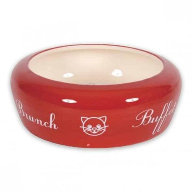 No Waste Ceramic Cat Buffet Bowl - Red (300ml) - Cat Bowl