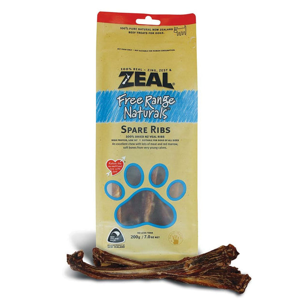 Zeal Meaty Free-Range Spare Ribs - 200g - Dog Treats