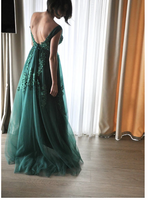 Chic A-line Straps Green Lace Prom Dresses Applique Beads Prom Dress  S6433