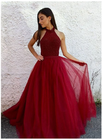 Burgundy beaded tulle long A line prom dress, burgundy evening dress S6360