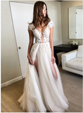 Stylish A line tulle lace long prom dresses with sleeves, formal dresses  S6353