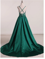 A-line Prom Dresses Long Spaghetti Straps Dark Green Prom Dress Evening Dresses S6399