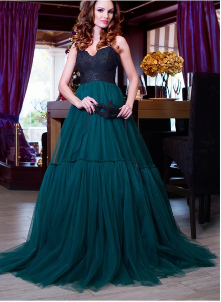 A line sweetheart neck lace tulle long prom gown, evening dress  S6348