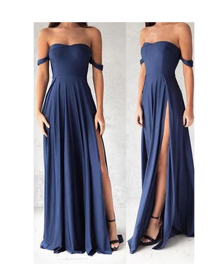 Sexy Side Slit Off Shoulder Prom Dresses,Cheap Prom Gowns,Long Evening Gowns S6480