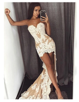 Nude Sweetheart Strapless Ivory Lace Sheath High Low Sexy Elegant Prom Dresses S6455