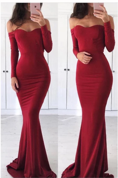 Mermaid Prom Dress Tight Off-the shoulder Burgundy Long Sleeve Long Prom Dresses S6406