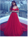 Long Prom Dress A-line Off-the-shoulder Red Beading Prom Dresses S6409