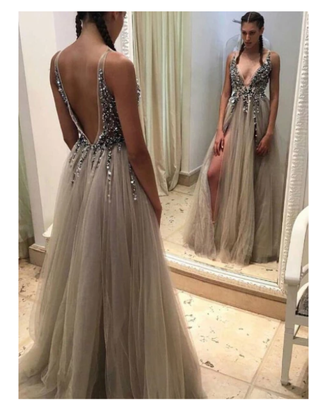 Popular Deep V-Neck Charming Cocktail Ball Gown Evening Long Prom Dresses  S6449