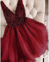 Burgundy Short homecoming dress Short prom Dresses Girls Junior Graduation Gown S01