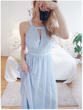 A-line Light Blue Chiffon Simple Cheap Long Prom Dresses S6423