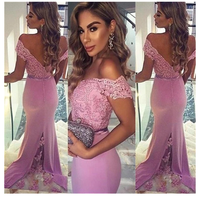 Long Custom Lace Off Shoulder V-Back  Prom Dress  S6448