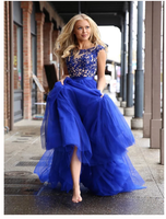 Royal Blue Prom Dress A-line Scoop Applique Tulle Long Prom Dresses  S6416