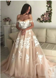 Champagne tulle applique long prom dress, evening dress S6387