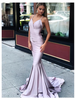Sexy Mermaid Light Purple Prom Dresses Spaghetti Straps Sweep Train  S6464