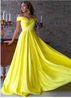 Yellow v neck satin long prom dress, yellow evening dress S6375
