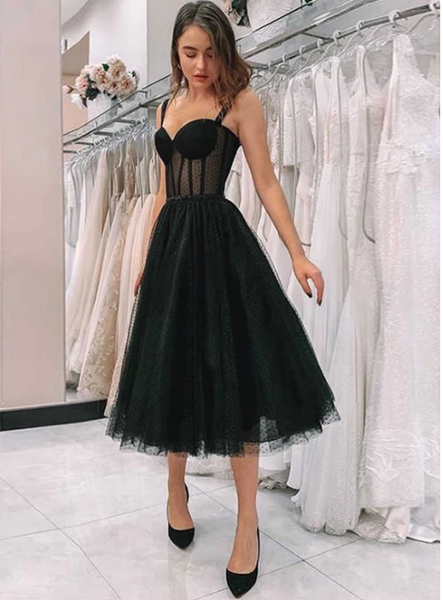 Simple black tulle short prom dress, homecoming dress  S6329